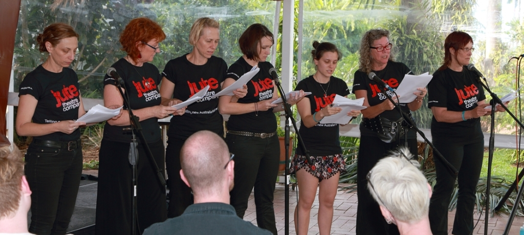 The script of 'A Cyclonic Reunion' being read at the 2014 Cairns Tropical Writers Festival.