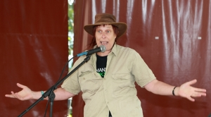 Helen Ramoutsaki performing 'Not in my backyard' at the 2014 Cairns Tropical Writers Festival.